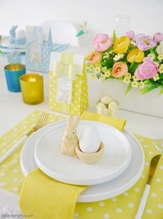 Easter Brunch Table Setting from a Colorful Spring Easter Brunch on Kara's Party Ideas | KarasPartyIdeas.com (11)