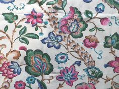 Vintage 1940's 50's Cotton Interiors Fabric Jacobean Plants in Collectables, Sewing/ Fabric/ Textiles, Fabric/ Textiles | eBay