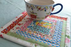 Quilted Log Cabin Mug Rug Snack Mat Mini Quilt