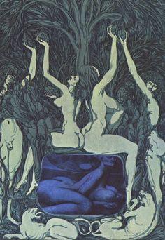 In the Sheets of the Night, Art by Austrian artist Ernst Fuchs. Vienna School Of Fantastic Realism, Arte Tribal, Macabre Art, Arte Horror, Print Artist, Erotic Art, Occult, Dark Art, Female Art