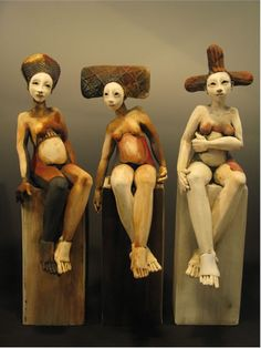 """Artists Sally & Neil MacDonell, these 3 put me in mind of Jane Alexander's 'Butcher Boys"""" only far more gentle and less menacing."""