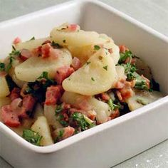 German potato salad is a classic among barbecues and picnics. This recipe gets its unique flavor from bacon and a piquant vinaigrette.