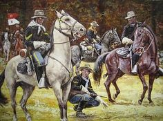 """Frsh Tracks Sergeant by Don Stivers Image size: 15.5"""""""" x 21""""""""Signed by the artist Don Stivers. Buffalo Soldiers of the US Army protect the settlers during the post civil war western expansion of civil"""