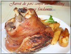 JARRET DE PORC CONFIT AU RIESLING ET SES POMMES FONDANTES Une recette de terroir, bien réconfortante, plein de saveur parce que mariné la...