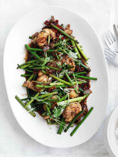 // Stir-fried lobster with Sichuan pepper and garlic stems