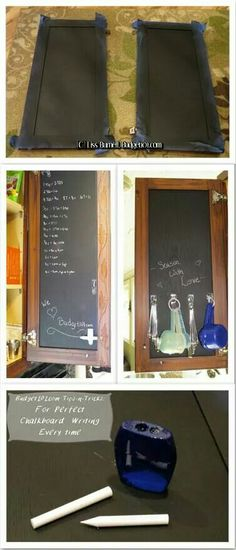 Turn the inside of cabinet into a chalkboard Kitchen Chalkboard, Chalkboard Paint, Diy Kitchen, Kitchen Decor, Kitchen Cupboards, Kitchen Ideas, Home Crafts, Home Projects, Easy Diy Crafts