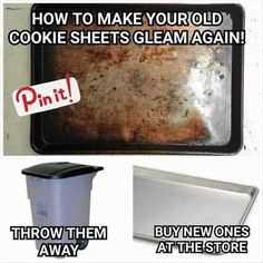 How to make your old cookie sheets gleam again! Humor for cleaning Funny Quotes, Funny Memes, Jokes, Haha Funny, Hilarious, Funny Stuff, Funny Shit, Funny Things, Random Stuff