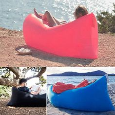 Vetroo Outdoor Inflatable Hangout Portable Bag Lounger - BLACK - Made with High Quality Nylon Fabric - Suitable For Camping, Pool, Beach Couch Sofa, Dream Chair Garden Cushion, Sleeping Air Bed