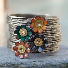 Bangle Bracelet Bronze Enamel Flower Copper Enameled Jewelry