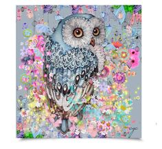 My Owl by craftygeminicreation on @Polyvore featuring art, owl, flowers, water color, sketch, pastels