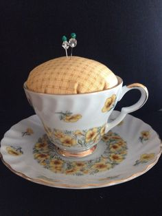 New Vintage Tea Cup Pin Cushion Yellow August Poppy Lefton China Sewing #Unbranded