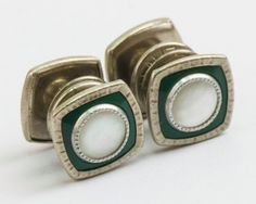 Vintage Snap Cufflinks  Black Enamel Mother of by CuffsandClips, $33.60