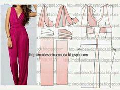 Moldes moda Fashion Sewing, Diy Fashion, Ideias Fashion, Jumpsuit Pattern, Pants Pattern, Diy Clothing, Sewing Clothes, Dress Sewing Patterns, Clothing Patterns