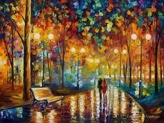 """Rain Rustle - Original Oil On Canvas by Leonid Afremov"" Canvas Prints by Leonid Afremov | Redbubble"