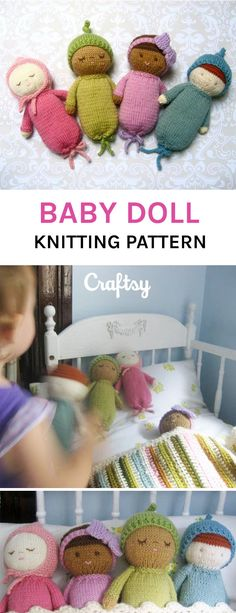The soft and cute knitted baby dolls will soon be your baby's favorite toy. Get the knitting pattern at Crafsty. The soft and cute knitted baby dolls will soon be your baby's favorite toy. Get the knitting pattern at Crafsty. Knitting For Kids, Baby Knitting Patterns, Free Knitting, Knitting Projects, Crochet Projects, Knitted Doll Patterns, Knitting Toys, Crochet Patterns, Chat Crochet
