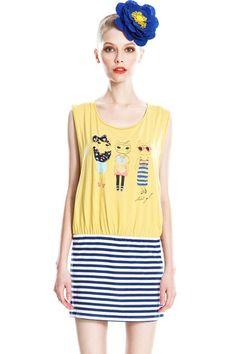 Lovely Cat Print Sleeveless Striped Mini Dress  $98.00