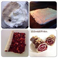 Brazo de reina o brazo gitano. ✨Ingredientes: -3 claras grandes. -1/4 taza avena en polvo -1 cdta polvos de hornear -Esencia de vainilla -Endulzante. ✨Para el relleno: -Dulce de berries casero sin azucar -un par de frutillas (fresas). ✨Para porner encima -salsa de choco-miel -Frutos secos picados. ✨Preparación: 1-Batir las claras a nieve, y luego incorporar la avena, los polvos, el endulzante y la vainilla con movimientos envolventes para que no se bajen las claras. 2-Luego verter la masa…