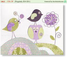Guardería bebé vivero decoración grabados arte de pared de vivero aves lavanda flores púrpura del vivero de buho de vivero - un día soleado por GalerieAnais