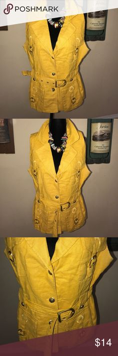Super adorable mustard colored vest Super adorable mustard colored vest with gold details throughout Sandro Tops