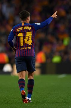 Philippe Coutinho of Barcelona celebrates after scoring his sides first goal during the La Liga match between Barcelona and Real Sociedad at Camp Nou...