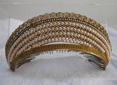 Antique French Empire Gilt Ormolu Seed Pearl Tiara Diadem Hair Comb C1810
