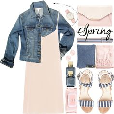 How To Wear Spring Pink Silk Dress Denim Jacket Outfit Idea 2017 - Fashion Trends Ready To Wear For Plus Size, Curvy Women Over 20, 30, 40, 50