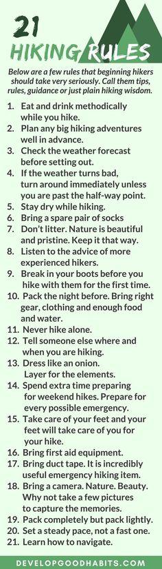 "Hiking for Beginners guide. it's nice. ""dress like an onion"" lol <3"