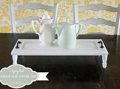 upcycled cupboard door turned tray
