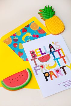 Ideas For Fruit Party Card Fruit Birthday, 2nd Birthday Parties, Birthday Party Invitations, Frozen Birthday, Birthday Ideas, Wedding Invitations, Fruit Party, Tutti Fruity Party, Hawaian Party