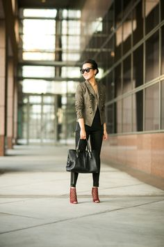 Wendy Nguyen is perfectly fit for fall in the Olive blazer from Banana Republic.