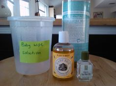 Baby Wipes Solution: 1 Quart of water, about 1 Teaspoon castile soap, 1 Teaspoon oil, and a few drops of tea tree oil