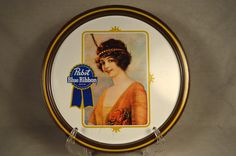 Pabst Blue Ribbon Beer Serving Tray Flapper Girl Victorian