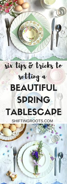 Spring Tablescape- using cloches- tables for spring- glass jars ...