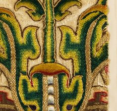 19th century flower from Spain http://www.embroiderersguild.com