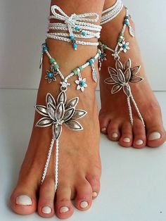 Water Lily barefoot sandals, Lotus bridal barefoot sandals, Beach wedding…