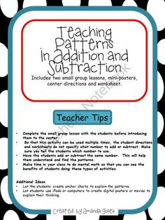 Lesson Plans and Activities Ready to GO!! Enter for your chance to win 1 of 5.  Patterns in Addition and Subtraction  (12 pages) from MissMathTeacher on TeachersNotebook.com (Ends on on 2-2-2014)  Check out this!  Great for primary math classes or 4/5 students that struggle with number sense.