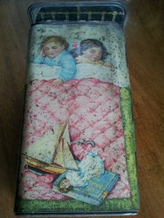 Rare antique / vintage old Gray Dunn biscuit tin 1910. Children in bed Christmas | eBay