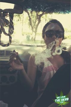 Chick Smoking Blunt