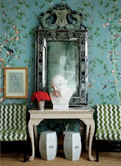 """""""Brighton Pavilion was inspired by the Chinese export of wallpaper to Europe in the and century. Chinese wallpaper is something I've always loved."""" -Miles Redd Brighton Pavilion wallpaper by Miles Redd for Schumacher De Gournay Wallpaper, Silk Wallpaper, Chinoiserie Wallpaper, Chinoiserie Chic, Colorful Wallpaper, Waves Wallpaper, Painted Wallpaper, Chic Wallpaper, Chinese Wallpaper"""