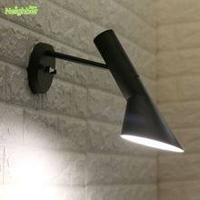 Modern Style AJ Wall Lamp White Black Metal lights Creative Living Room Bedroom Bedside Room Foyer Home Lighting Wall Sconces(China)