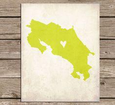 Costa Rica Love Country Customizable Art Print by mereleemade, $16.00