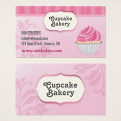 Pink Cupcake Bakery Business Card - office ideas diy customize special