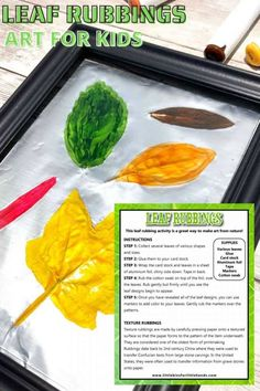 A fun way to celebrate the fall season in the classroom or at home with your preschool and elementary aged kids! How to make leaf rubbings for kids with a few simple supplies and step by step instructions. Great fall theme art project. Fall Preschool Activities, Stem Activities, Autumn Art, Autumn Theme, Fall Projects, Projects For Kids, Painted Leaves, Harvest Time, Leaf Art