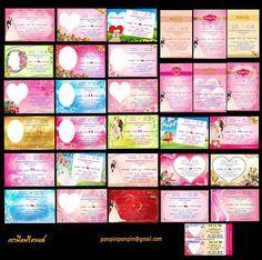 ไฟล์ การ์ดแต่งงาน 31 แบบ  ชุดละ 1 พันบาท  ไฟล์ PSD แก้ไขง่าย แนวหวาน แนวน่ารัก สวยหรู ดูดี สีสันสวยสดใส   สนใจติืดต่อทางกล่องข้อความ หรือทางอีเมลล์ pompimpompim@gmail.com