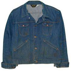 cf1ad512 Vintage Wrangler No-Fault Jean Jacket Sz 44 XL 1970's 14 Oz Denim Work Wear