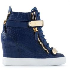 Giuseppe Zanotti Design wedge hi-top sneakers, Blue leather wedge hi-top sneakers from Giuseppe Zanotti Design featuring a round toe, side zip fastenings, gold-tone hardware and a white rubber sole. Wedge Heel Sneakers, Sneaker Heels, Wedge Boots, Shoe Boots, Blue Sneakers, Leather Sneakers, Shoes Sneakers, Top Shoes, Cute Shoes