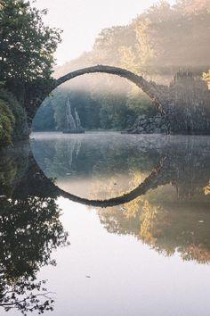 Rakotzbrücke (Rakotz Bridge), Germany, During Sunrise Landscape Photography, Nature Photography, Travel Photography, Magical Photography, Germany Photography, Sunrise Photography, Inspiring Photography, Stunning Photography, Outdoor Photography