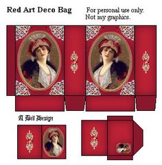 Red Art Deco Bag And Tag