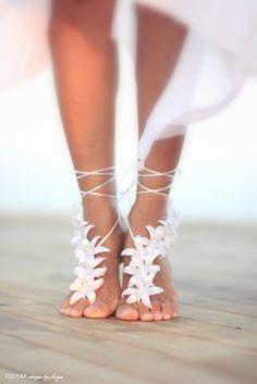 Autumn flowers barefoot sandal beach wedding barefoot by FULYAK