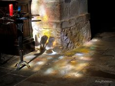 Church Reflection - My first visit to St Malo, in Brittany took me down numerous stone streets. I embraced the energy and history, of the city. I made my way into a church for a brief visit. I was welcomed by this afternoon light and reflection, through the window. PHOTO: AMY RALSTON #Church #Reflection #SaintMalo #France